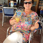 Me! Enjoying an orange juice between flamenco workshops whilst in Spain.