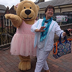 Me posing with Ballerina Bear whilst in the UK